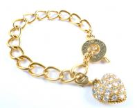 Chunky Monet Gold Plated Curb Chain Bracelet With Rhinestone Heart Charm.
